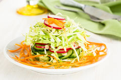 Fresh cabbage salad with cucumber,  carrot and radishes on a whi. Te plate.  Spring salad Royalty Free Stock Photos