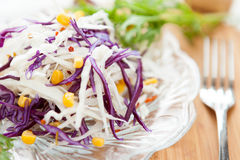 Fresh cabbage salad and tinned corn Stock Image