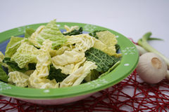 Fresh cabbage. Some green cabbage in a bowl stock photos