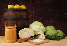 Fresh cabbage and wooden barrel Royalty Free Stock Photo