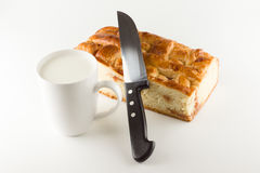 Fresh cake with apple filling Royalty Free Stock Photos