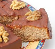 A fresh cake with chocolate and walnuts Stock Photography