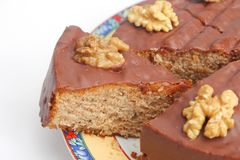 A fresh cake with chocolate and walnuts Stock Photo