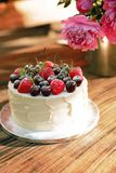 cake with fresh berries and fruits royalty free stock photo