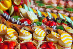 Fresh cakes on banquet table Royalty Free Stock Photo