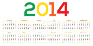 Fresh calendar 2014 Stock Photography