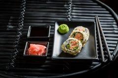 Fresh California Maki sushi with wasabi and soy sauce Stock Photos