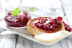 Fresh camembert. With cranberry sauce Royalty Free Stock Photos