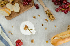 Fresh camembert from organic farms. With red grapes and toasted baguette Royalty Free Stock Photos