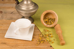 Fresh camomile in mortar Royalty Free Stock Image