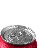 Fresh Can of Soda Pop. Fresh can of soda with water drops and red color on white background Stock Photography