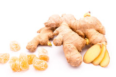Fresh and candied ginger.  on white. Royalty Free Stock Image