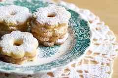 Canestrelli biscuits on a decorated plate ready for tea time Stock Photography