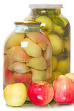 Fresh and canned apples Stock Photos