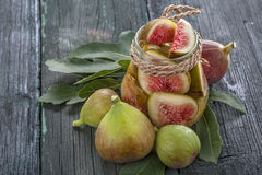 Fresh and canned figs Royalty Free Stock Image