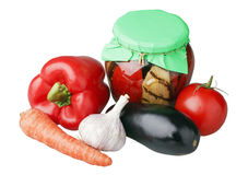 Fresh and canned vegetables Stock Images