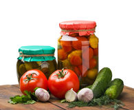 Fresh and canned vegetables with herbs Stock Image