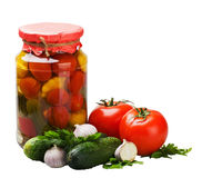 Fresh and canned vegetables with spices and herbs Stock Photo