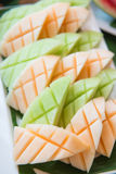 Fresh cantaloupe on dish for healthy Royalty Free Stock Image