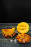 Fresh cantaloupe melon and ice, hot summer concept Stock Images