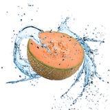Fresh cantaloupe melon with water splash Royalty Free Stock Image