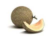 Fresh Cantaloupe Melon on a White Background Royalty Free Stock Image