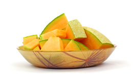 Fresh Cantaloupe Slices Bowl Stock Photo