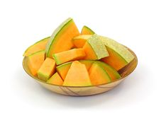 Fresh Cantaloupe Slices Overhead View Stock Photo