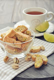 Fresh cantuccini with pistachios Stock Photos