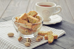 Fresh cantuccini with pistachios Stock Images
