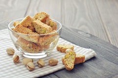 Fresh cantuccini with pistachios Royalty Free Stock Photo