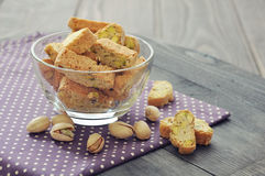 Fresh cantuccini with pistachios Royalty Free Stock Image