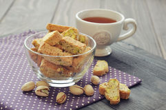 Fresh cantuccini with pistachios Stock Photos