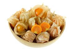 Fresh Cape Gooseberry cut in half Stock Photography