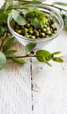 Fresh capers and capers branches. Fresh capers in bowl and capers branches close up Stock Photos