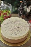 Delicious fresh baked Cappuccino Cake with Christmas concept royalty free stock photos