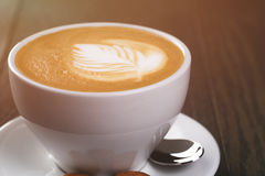 Fresh cappuccino with latte art Stock Image