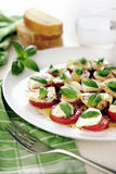 Fresh caprese salad with delicious tomatos + mozzarella and bas Royalty Free Stock Photos