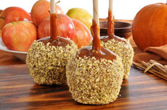 Fresh caramel apples Stock Photo