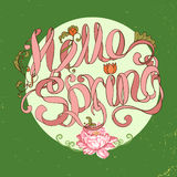 Fresh card design with text Hello spring on round frame Stock Images