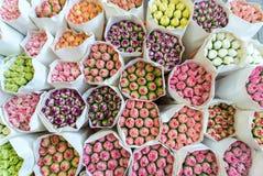 Fresh carnation bouquets in Hong Kong stock photo