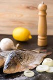 Fresh carp fish with spices and lemon. Fresh carp fish with lemon and spices Stock Images