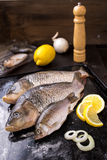 Fresh carp fish with spices and lemon. Fresh carp fish with lemon and spices Stock Image