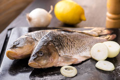 Fresh carp fish with spices and lemon. Fresh carp fish with lemon and spices Stock Photography