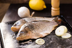 Fresh carp fish with spices and lemon. Fresh carp fish with lemon and spices Royalty Free Stock Photos