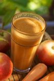 Fresh carrot and apple juice Royalty Free Stock Photos