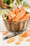 Fresh carrot in the basket Royalty Free Stock Images