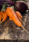Fresh carrot and beetroot on table Royalty Free Stock Photos