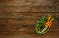 Fresh carrot bunch on  wooden background . Top view,. Copy space Stock Photos