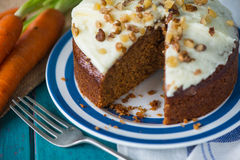 Fresh  carrot cake on plate Royalty Free Stock Photo